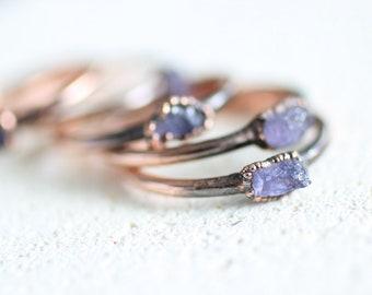 Raw Tanzanite Copper Ring Electroformed Tanzanite Raw Jemstone Ring