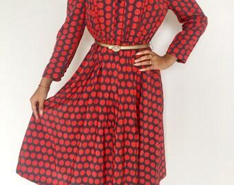 Red polkadot vintage dress