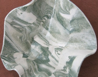 Ceramics and Pottery Agateware Bowl - Handmade Green and White Marbled Stoneware Bowl - Small Serving Dish