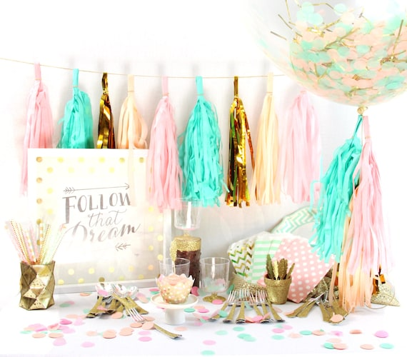 Jamboree Celebration 9+ Person Party Box, Pink Peach Mint Gold Glitter Party Package, First Birthday Decor, Pink Gold Glitter Party In a Box