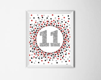 11 Sign Printable 11th Birthday Party Sign 11th Birthday Party Decor Red Black Silver Glitter Confetti Birthday Party Decorations