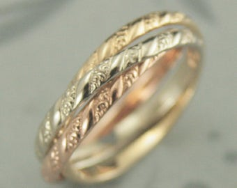 Tricolor Rolling Ring--Patterned Rolling Ring--Russian Wedding Band--Unique Wedding Band--Three Band Interlocking Ring--Versailles Pattern