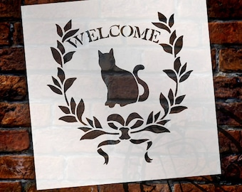 Welcome - Cat - Word Art Stencil - Select Size - STCL1946 - by StudioR12