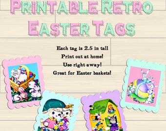 Easter Gift Tags, Instant Download Printable Tags, Vintage Digital Download Easter, Bunny Chicks Spring Tags, JPG Easter Basket Gift Tags