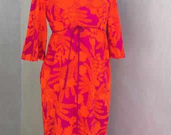 Vintage Hawaiian Kay O'Kauai neon long luau dress orange purple sz S