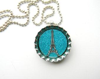 Bottle Cap Necklace Paris Chic Eiffel Tower on Glitter