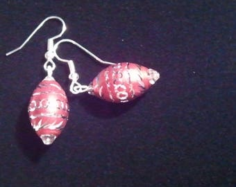 Red Aluminum Laser Cut Bead and Crystal Handcrafted Dangle earrings
