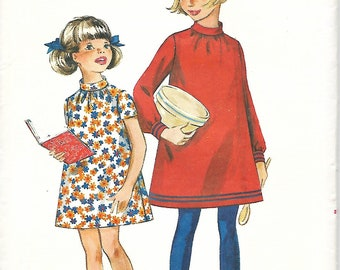 Vtg Butterick 5014 Girls A-line Dress With Gathered Neckline Sewing Pattern, Size 14