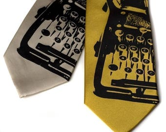 Underwood Typewriter necktie. Vintage typewriter print mens tie. Gift for writers, authors, typists, editors, journalists, playwrights