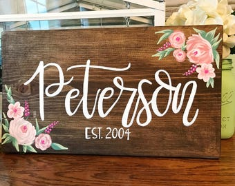 Hand Painted Wood Sign, Custom Last Name Sign, Wedding Decor, Gallery Wall Sign, Hand Painted Floral Sign, Anniversary Gift, Housewarming
