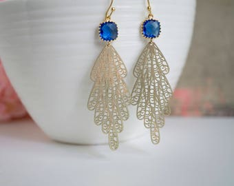 Matte Gold Peacock Moroccan Filigree Cobalt Blue glass earrings. Romantic Chic Long Dangling Earrings For Her. Engagement Party Wedding Gift