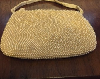 1940's Cream Faux Pearl Evening Bag.