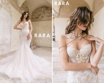 Mermaid wedding dress TEINI with gold lace embroidery  and long train by RARA AVIS • Luxury wedding dress • Unique wedding dress •