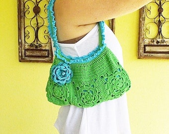 Green Handbag, Flower Handbag, Green Flower Handbag, Green Summer Handbag, Green Purse, Green Shoulder Bag
