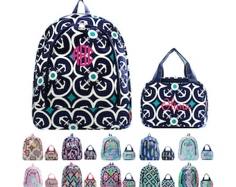 Personalized Matching Kids Backpack & Lunch Bag Set Monogrammed Lunchbox Bookbag Girls Boys Paisley Whale Boho Arrow Anchor Giraffe Ikat