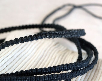 Black, Long Knotted Waxed Cotton String, Free to Use as Bracelet, Belt, Anklet, Necklace
