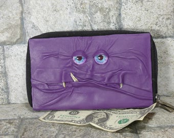Wallet Woman Clutch With Monster Face Double Zippered Organizer Purple Black Leather 234