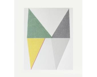 geometric art, original screenprint, mid century modern on beautiful paper by Emma Lawrenson