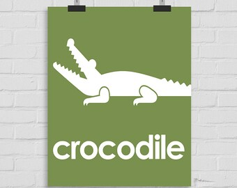 Crocodile Art Print, Jungle Wall Art Nursery Art, Crocodile Playroom Art, Reptile Wall Art, Modern Nursery Art, Crocodile Print