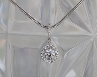 SALE - Sterling Silver Cubic Zirconia Halo Pendant with FoxtailChain - Perfect for Brides!