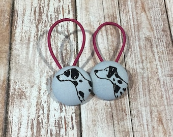 "1 1/8"" Size 45 Light Grey/Black Dalmatian Dog Fabric Covered Button Hair Tie / Ponytail Holder / Party Favor (Set of 2)"