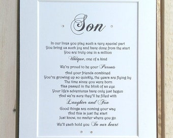 Son Gift, Son Birthday Gift from Mum and Dad, Birthday Gift for Son, Son wedding gift, Personalised gift for son, Father son, Mother Son