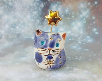 Purple Ceramic Cat with Gold Stars