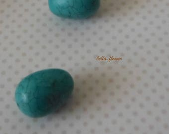 Perle OLIVE turquoise 2 cm