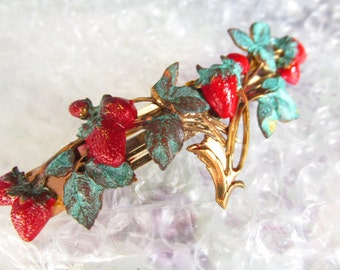 Wedding barrettes Strawberry Hair barrettes bridal hair clips Leaf barrette bridal hair jewelry Forrest wedding