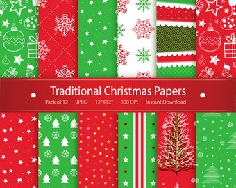 Christmas Digital Paper: Traditional Christmas Papers Printable Design Instant Download Scrapbooking Collection - Stockings Snowflakes Stars