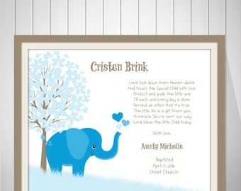 Christian Baby Print | Unique Baptism Gift | Baby Boy Name Art | Baby Personalized Wall Art | Godson Card - 50277