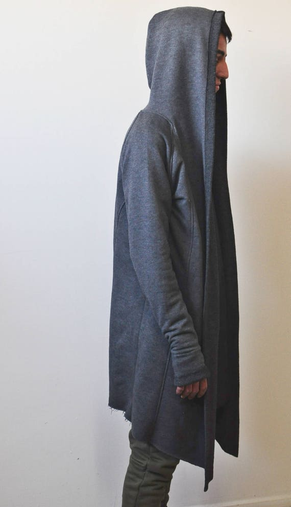XXS-6XL Oversized Men's Cardigan Glove Sleeve Raw Edges Rope Long Asymmetric Cut Kanye Jackets AXuHL