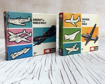 Two vintage Hippo book of Airlines of the World and Aircraft of World War 2. 1960s. Wonderful reference of vintage aeroplanes.