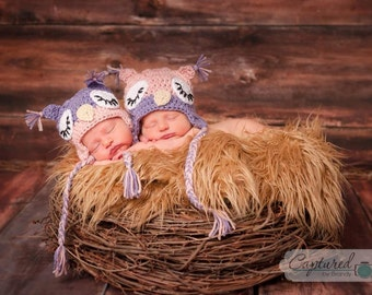 Owl Hat and Diaper Cover Set~Size range Newborn through age 4