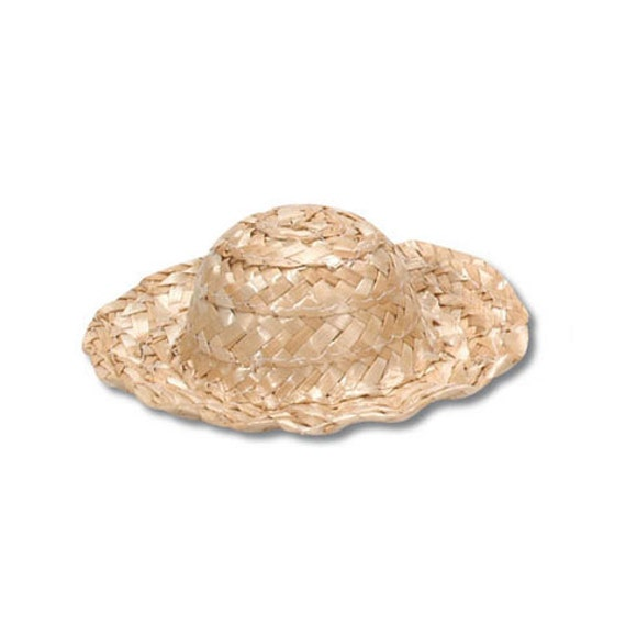4 Inch Miniature Wavy Natural Straw Doll Hat for Sparkles N Spirit Dolls