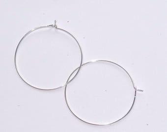 support earrings 35mm diameter silver metal hoop earrings sold by 2