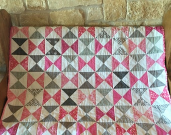 Pink & Gray Hourglass Baby Quilt - Free Shipping!