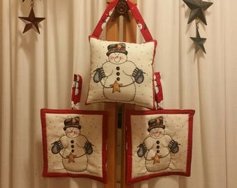 """Stars and snowman January hot pads. 6.5"""" square."""