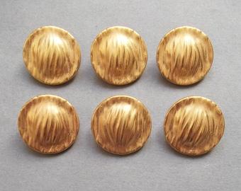 6 buttons round golden metal 20 mm