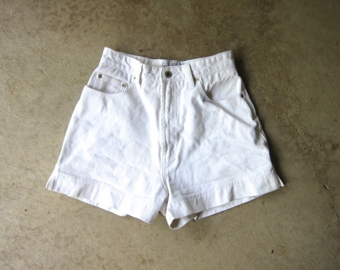 "White 90s Jean Shorts High Waist Denim Cuff Shorts Roll Up Off White Hipster Preppy White 1990s Vintage Jean Shorts Womens Small Waist 26"""