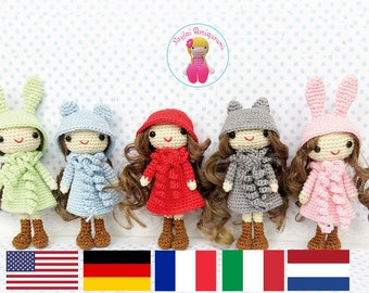 English, Italian, French, German and Dutch Tutorial - Curly Girls - Instant Download PDF Crochet Pattern