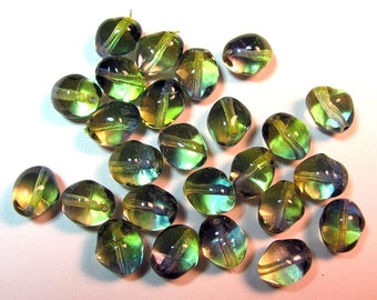24 Bohemian Czech Glass Bicolor Beads 14X10 mm