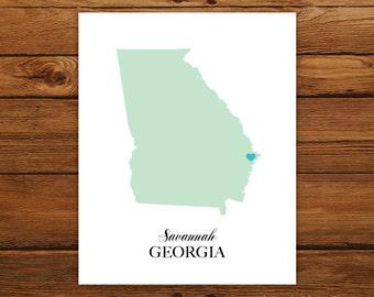 Georgia State Love Map Silhouette 8x10 Print - Customized