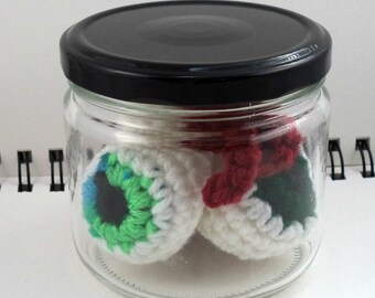 Jar of Crocheted Eyeballs in Greens and Blues (SWG-EY003)