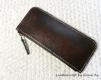 100% hand stitched handmade walnut brown cowhide leather pencil / pen case