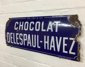 Industrial Vintage French Chocolate Advertisng Enamel Sign