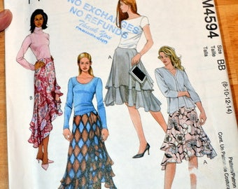 Uncut McCall' 4594, Misses' Skirt pattern, sizes 8, 10, 12, and 14