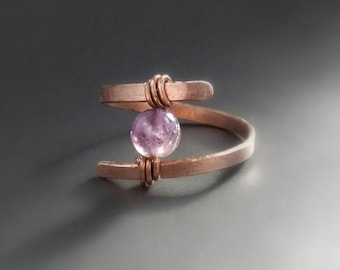 Amethyst gemstone minimal ring, february birthstone jewelry, hammered copper ring, purple amethyst stone women gift
