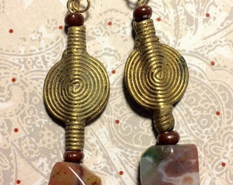 Jasper and brass Baoulye Dangle Earrings