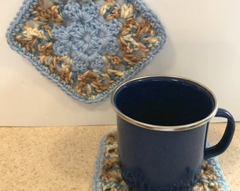 Blue & Brown Crocheted Hot Pads and Coaster Set